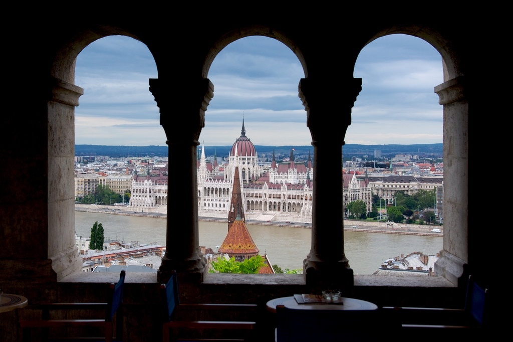 Hungarian Parliament from the Halászbástya or Fishermen's Bastion